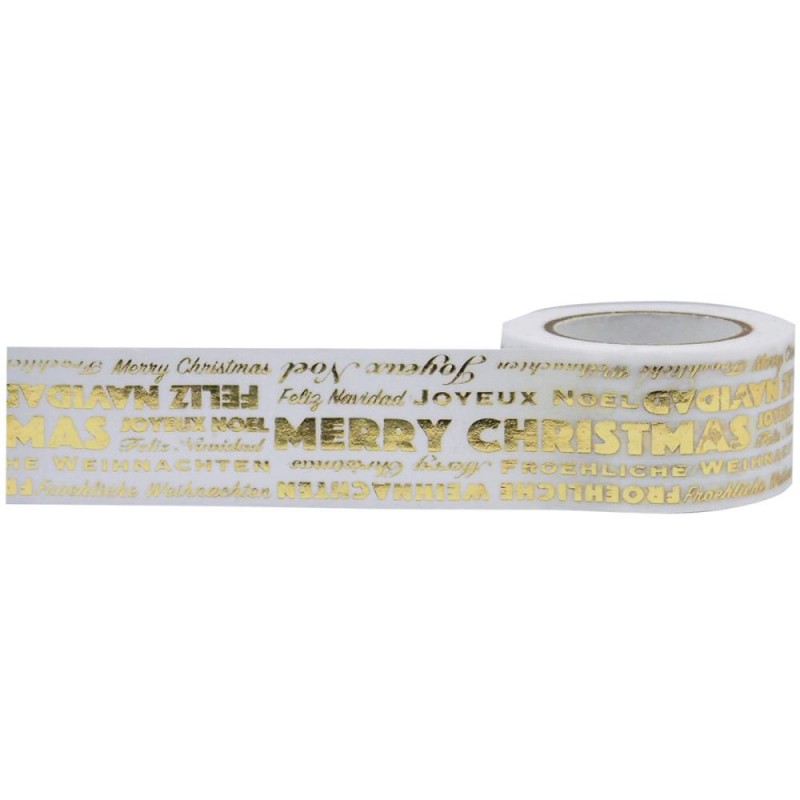 Little B Merry Christmas Word Play Gold Foil Washi Tape 10m 100765 ...