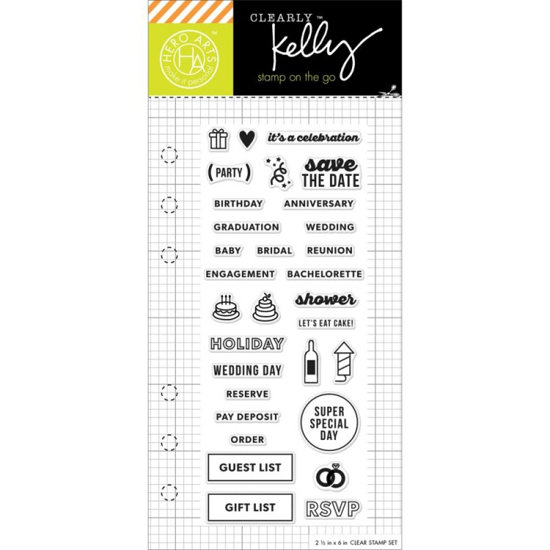 hero arts clearly kelly occasion planner 2 5 x6 clear stamp set cl921 craftie charlie. Black Bedroom Furniture Sets. Home Design Ideas