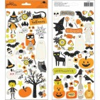 """Pebbles Spooky Boo! 6""""x12"""" Halloween Accent Stickers 2 sheets 733907"""