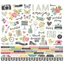 "Simple Stories I Am 12""x12"" Combo Element & Word Cardstock Stickers 10025"