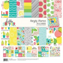"""Simple Stories Hello Summer 12""""x12"""" Collection Kit 10137"""