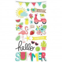 Simple Stories Hello Summer Self Adhesive Chipboard Shape Stickers 10152