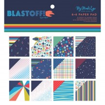"""My Mind's Eye Blast Off 6""""x6"""" Double-Sided Paper Pad BST109"""