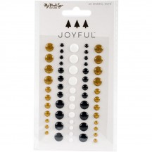 My Mind's Eye Joyful Enamel Dots - Gold glitter, Black, White JYF113