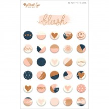 My Minds's Eye Blush Rose Gold Puffy Stickers BLH117