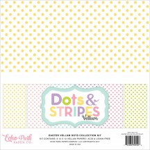 "Echo Park Dots & Stripes Easter Vellum 12""x12"" Double-Sided Paper Pack 12 Sheets DS17116"