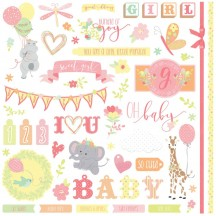 """Photoplay About A Little Girl 12""""x12"""" Element Shape Stickers ALG2465"""