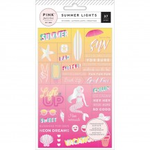 Pink Paislee Summer Lights Transparent Acetate Word Jumble Stickers 310270