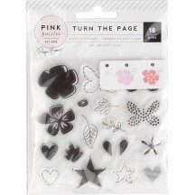 Pink Paislee Paige Evans Turn The Page Clear Acrylic Layering Stamp Set 310579