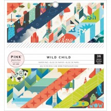 """Pink Paislee Wild Child Boy 6""""x6"""" Single-Sided Paper Pad - 36 Sheets 310593"""