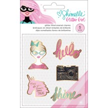 American Crafts Shimelle Glitter Girl Glitter Filled Enamel Charms 343669