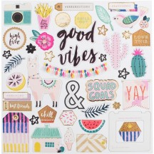 """Crate Paper Good Vibes 12""""x12"""" Self Adhesive Chipboard Accents 344312"""