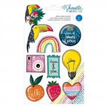 American Crafts Shimelle Box Of Crayons Glitter Shaker Stickers 346622