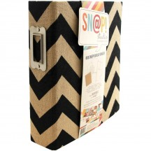 "Simple Stories Snap Binder 6""x8"" Black Chevron Burlap Album & Accessories 4077"