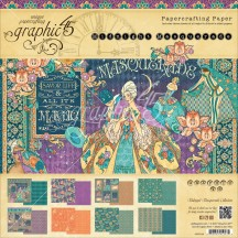 "Graphic 45 Midnight Masquerade Designer 8""x8"" Paper Pad 24 sheets 4501548"