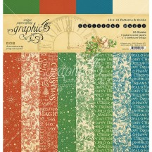 """Graphic 45 Christmas Magic Patterns & Solids 12""""x12"""" Paper Pad 16 sheets 4501736"""