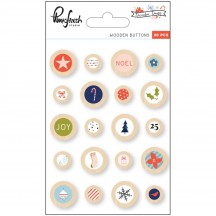Pinkfresh Studio December Days Wood Button Christmas Stickers PFRC500617