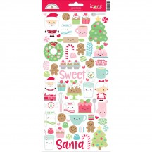 """Doodlebug Milk & Cookies 6""""x12"""" Icons Cardstock Christmas Stickers 5774"""