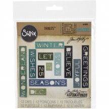 Sizzix Holiday Words Thin Tim Holtz Alterations Thinlits Christmas Cutting Dies 661600