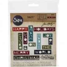Sizzix Holiday Words #2 Thin Tim Holtz Alterations Thinlits Christmas Cutting Dies 661601
