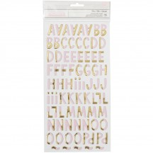 Crate Paper Cute Girl Dear Pink & Gold Chipboard Letter Thickers 680506
