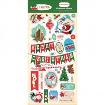 Carta Bella A Very Merry Christmas Self Adhesive Chipboard Accent Shape Stickers CBVMC72022