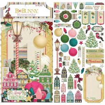 Bo Bunny Christmas In The Village Noteworthy Die-Cut Journaling & Accents Cardstock 7310311