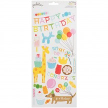 "Pebbles Happy Hooray Birthday 6""x12"" Accent Stickers 2 sheets 732618"