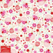 "Pebbles Forever My Always 12""x12"" Speciality Gold Foil Valentine Sheet 733636"