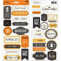 """Pebbles Spooky Boo! 6""""x12"""" Halloween Label Cardstock Stickers 2 sheets 733911"""