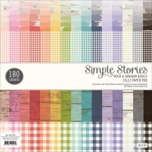 "Simple Stories Wood & Gingham Basics 12""x12"" Paper Pad 7897"
