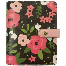 Simple Stories Carpe Diem Personal Faux Leather Planner Black Blossom Binder Only 7965