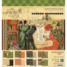 "Graphic 45 Master Detective Designer 8""x8"" Paper Pad 24 sheets 4501570"