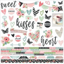 """Simple Stories Romance 12""""x12"""" Combo Element & Word Cardstock Stickers 9401"""