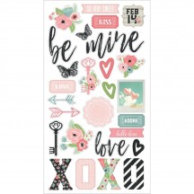Simple Stories Romance Self Adhesive Chipboard Shape Stickers 9414