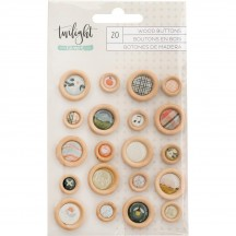 American Crafts One Canoe Two Twilight Wood Buttons 346434