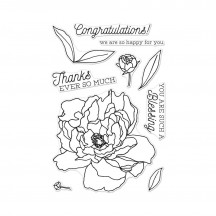 "Hero Arts Peonies 4""x6"" Clear Stamp Set CM259"