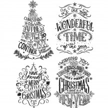 Tim Holtz Doodle Greetings 2 Cling Mount Christmas Sets Collection from Stampers Anonymous - CMS286