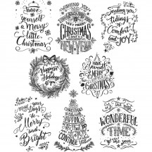 Tim Holtz Mini Doodle Greetings Cling Mount Christmas Sets Collection from Stampers Anonymous - CMS287