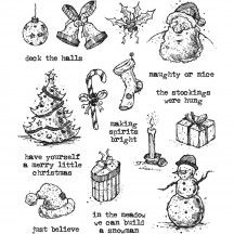 Tim Holtz Tattered Christmas Cling Mount Sets Collection from Stampers Anonymous CMS318