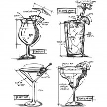 Tim Holtz Cocktails Blueprint Cling Mount Sets Collection from Stampers Anonymous CMS335