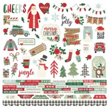 """Simple Stories Merry & Bright Christmas 12""""x12"""" Combo Element & Word Cardstock Stickers 10307"""