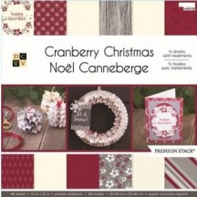 """DCWV Cranberry Christmas Premium Stack 12""""x12"""" - 48 sheets CP-01 2-00678"""