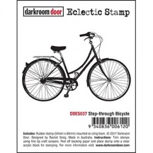 Darkroom Door Step-through Bicycle Eclectic Cling Rubber Stamp - DDES037