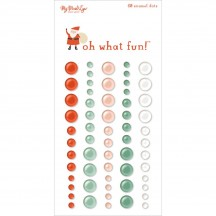 My Mind's Eye Oh What Fun Enamel Dots - Red, Aqua, Coral, White FNC113