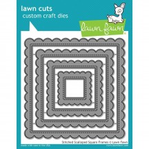 Lawn Fawn Cuts Stitched Scalloped Square Frames Universal Craft Cutting Dies LF1720