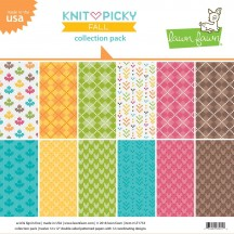 """Lawn Fawn Knit Picky Fall 12""""x12"""" Collection Pack LF1733"""