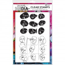 Ranger Dina Wakley Media Clear Stamp Set Funky Faces MDC58373