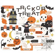 My Mind's Eye Trick or Treat Halloween Mixed Bag Die-Cut Cardstock Ephemera Pieces HLW116