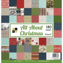 """DCWV All About Christmas 12""""x12"""" Value Paper Stack 180 Sheets PS-005-00503"""